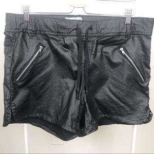 Plus Size Faux Leather Like Stretchy Black Shorts